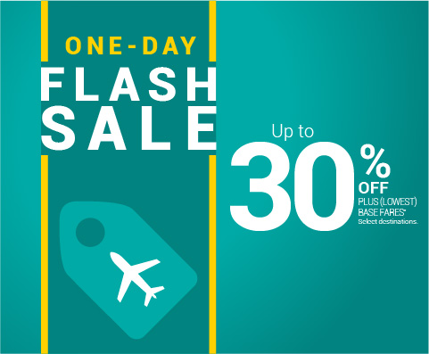 ONE-DAY FLASH SALE. Select destinations.