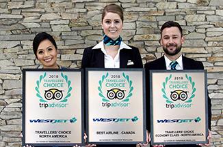 Cabin Crew Members holding three TripAdvisor awards plaques.